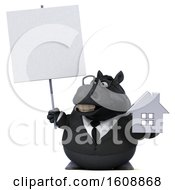 Poster, Art Print Of 3d Chubby Black Business Horse Holding A House On A White Background