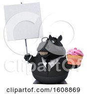 Poster, Art Print Of 3d Chubby Black Business Horse Holding A Cupcake On A White Background
