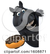 Poster, Art Print Of 3d Chubby Black Horse Holding A Donut On A White Background