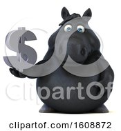 Clipart Of A 3d Chubby Black Horse Holding A Dollar Sign On A White Background Royalty Free Illustration