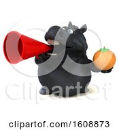 September 18th, 2018: Clipart Of A 3d Chubby Black Horse Holding An Orange On A White Background Royalty Free Illustration by Julos