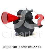 Poster, Art Print Of 3d Chubby Black Horse Holding A Question Mark On A White Background