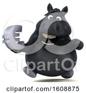 Poster, Art Print Of 3d Chubby Black Horse Holding A Euro On A White Background