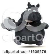 Poster, Art Print Of 3d Chubby Black Horse Holding A Cloud On A White Background