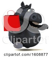 Poster, Art Print Of 3d Chubby Black Horse Holding A Shopping Bag On A White Background