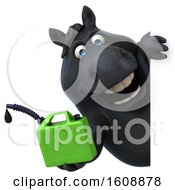 September 18th, 2018: Clipart Of A 3d Chubby Black Horse Holding A Gas Can On A White Background Royalty Free Illustration by Julos