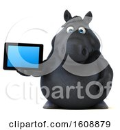 September 18th, 2018: Clipart Of A 3d Chubby Black Horse Holding A Tablet On A White Background Royalty Free Illustration by Julos