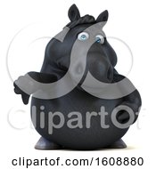 September 18th, 2018: Clipart Of A 3d Chubby Black Horse Holding A Thumb Down On A White Background Royalty Free Illustration by Julos
