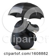 September 18th, 2018: Clipart Of A 3d Chubby Black Horse Holding An Umbrella On A White Background Royalty Free Illustration by Julos