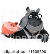 Poster, Art Print Of 3d Chubby Black Business Horse Holding A Piggy Bank On A White Background