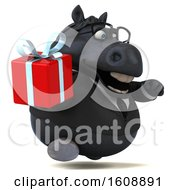 September 18th, 2018: Clipart Of A 3d Chubby Black Business Horse Holding A Gift On A White Background Royalty Free Illustration by Julos