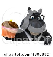 September 18th, 2018: Clipart Of A 3d Chubby Black Business Horse Holding A Cupcake On A White Background Royalty Free Illustration by Julos