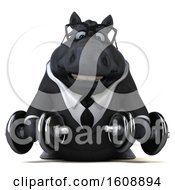 September 18th, 2018: Clipart Of A 3d Chubby Black Business Horse Holding Dumbbells On A White Background Royalty Free Illustration by Julos