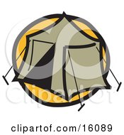 Tent Set Up At A Campground Clipart Illustration