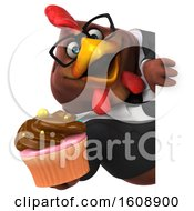 Poster, Art Print Of 3d Brown Business Chicken Holding A Cupcake On A White Background