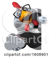 Poster, Art Print Of 3d White Business Chicken Holding A Cloud On A White Background