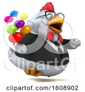 3d White Business Chicken Holding Messages On A White Background