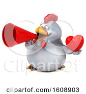 Poster, Art Print Of 3d White Chicken Holding A Heart On A White Background