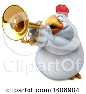 Poster, Art Print Of 3d White Chicken Holding A Trumpet On A White Background