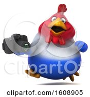 Poster, Art Print Of 3d French Chicken Holding A Camera On A White Background