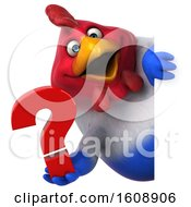 Poster, Art Print Of 3d French Chicken Holding A Question Mark On A White Background