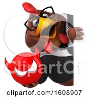 Clipart Of A 3d Brown Business Chicken Holding A Devil On A White Background Royalty Free Illustration