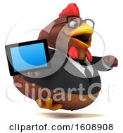 Clipart Of A 3d Brown Business Chicken Holding A Tablet On A White Background Royalty Free Illustration