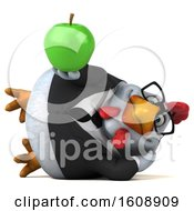 September 18th, 2018: Clipart Of A 3d White Business Chicken Holding An Apple On A White Background Royalty Free Illustration by Julos