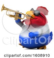 Clipart Of A 3d French Chicken Holding A Trumpet On A White Background Royalty Free Illustration by Julos