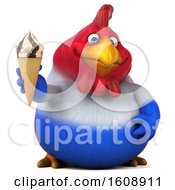 Poster, Art Print Of 3d French Chicken Holding A Waffle Cone On A White Background