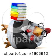 September 18th, 2018: Clipart Of A 3d White Business Chicken Holding Books On A White Background Royalty Free Illustration by Julos