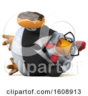 September 18th, 2018: Clipart Of A 3d White Business Chicken Holding A Donut On A White Background Royalty Free Illustration by Julos