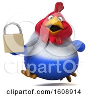 Poster, Art Print Of 3d French Chicken Holding A Padlock On A White Background
