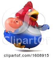 Poster, Art Print Of 3d French Chicken Holding A Piggy Bank On A White Background