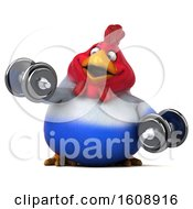 Poster, Art Print Of 3d French Chicken Holding Dumbbells On A White Background