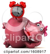 September 18th, 2018: Clipart Of A 3d Pink Henrietta Hippo Holding An Alarm Clock On A White Background Royalty Free Illustration by Julos