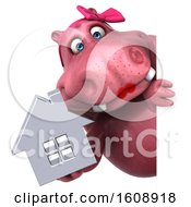 Clipart Of A 3d Pink Henrietta Hippo Holding A House On A White Background Royalty Free Illustration