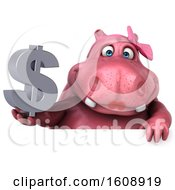 Clipart Of A 3d Pink Henrietta Hippo Holding A Dollar Sign On A White Background Royalty Free Illustration
