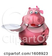 Clipart Of A 3d Pink Henrietta Hippo Holding A Plate On A White Background Royalty Free Illustration by Julos