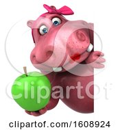 Clipart Of A 3d Pink Henrietta Hippo Holding An Apple On A White Background Royalty Free Illustration