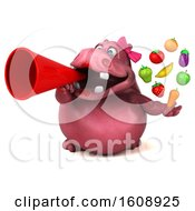 3d Pink Henrietta Hippo Holding Produce On A White Background