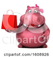 Clipart Of A 3d Pink Henrietta Hippo Holding A Shopping Bag On A White Background Royalty Free Illustration by Julos