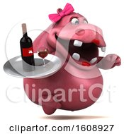 September 18th, 2018: Clipart Of A 3d Pink Henrietta Hippo Holding Wine On A White Background Royalty Free Illustration by Julos