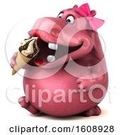3d Pink Henrietta Hippo Holding A Waffle Cone On A White Background