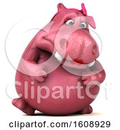 Clipart Of A 3d Pink Henrietta Hippo On A White Background Royalty Free Illustration by Julos