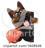 Poster, Art Print Of 3d Business German Shepherd Dog Holding A Piggy Bank On A White Background