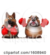 Clipart Of A 3d German Shepherd Dog Boxing With A Bulldog On A White Background Royalty Free Illustration