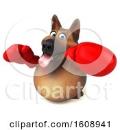 3d German Shepherd Dog Wearing Boxing Gloves On A White Background