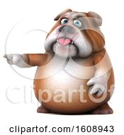 Clipart Of A 3d Bulldog Pointing On A White Background Royalty Free Illustration by Julos