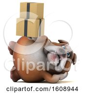 Clipart Of A 3d Bulldog Holding Boxes On A White Background Royalty Free Illustration by Julos
